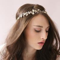 Bride Gold Crystal Flowers Hairbands Wedding Hair Accessories Bridal Headpiece Rhinestone Free Shipping Head Jewelry
