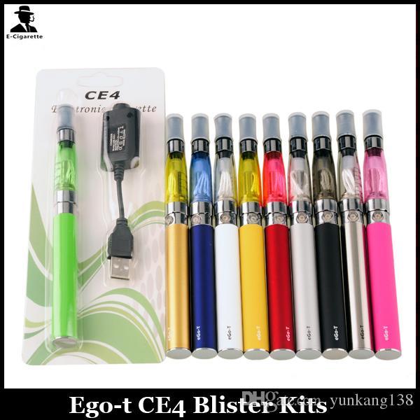 Ego T Ce4 Starter Kit Colourful EGO-T Battery 650mah 900mah 1100mah 1.6ML CE4 Atomizer Blister Card Packing E-cig Kit