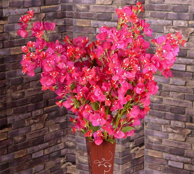 "Silk Bougainvillea 120cm / 47.24 ""長さの造花Bougainvilleas Spectabilis Willd Wintersweet Pulus Blossomの結婚式の花"