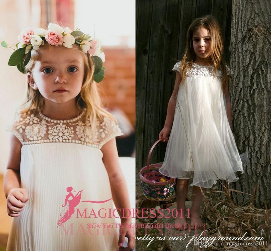 해변을위한 빈티지 꽃의 소녀 드레스 보헤미안 웨딩 라인 석 차 길이 캡 슬리브 제국 장식 Tulle First Communion Dresses