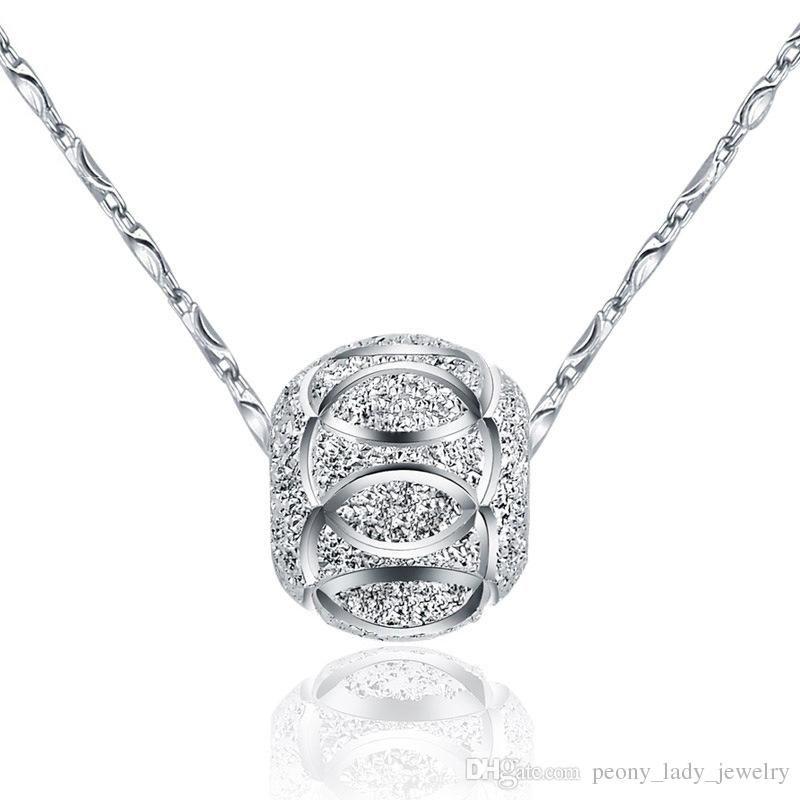 Zilveren kettingen 10/8 mm zilveren kralen bal vrouw hanger kettingen lucky kralen kettingen
