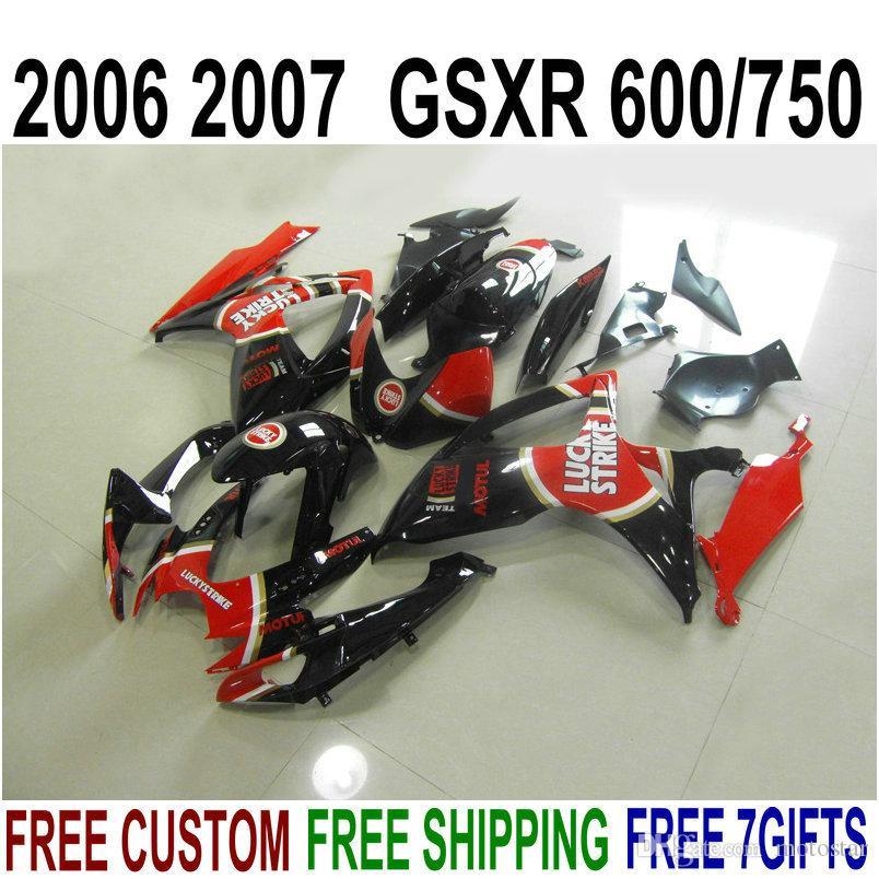 Kit de justo de plástico para Suzuki GSX-R600 GSX-R750 06 07 K6 Feeterias GSXR 600/750 2006 2007 Vermelho Black Lucky Strike Bodywork Set V9F