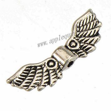 jewelry findings angel wings beads spacers crafts necklaces wholesales diy vintage silver flat double metal fashion 21*7mm 300pcs free ship
