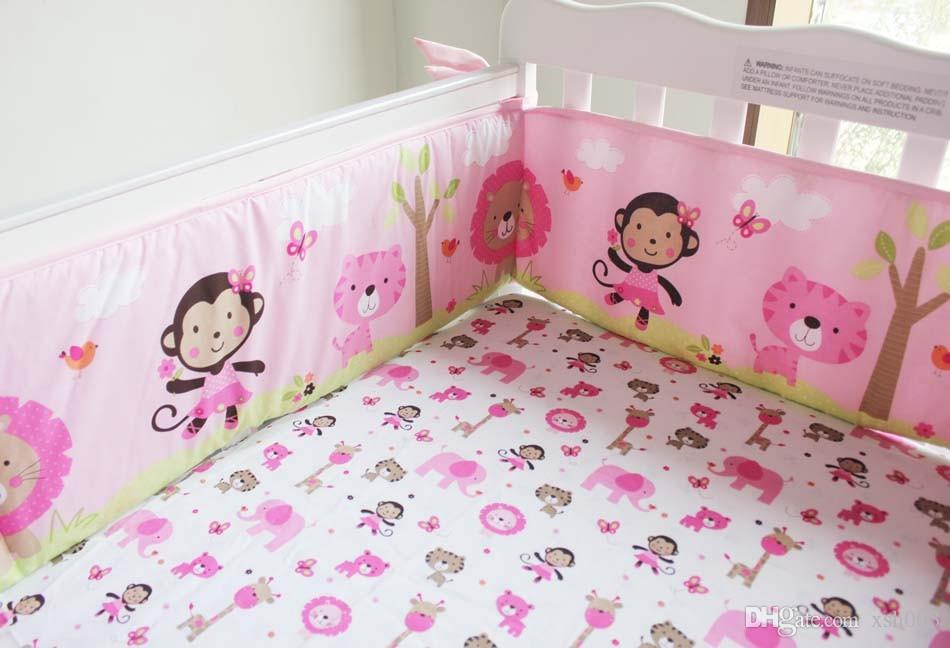 Sale! 2016 Pure Cotton Baby Girl Crib Bedding Set 3D Embroidery Monkey  Butterfly Lion Elephant Baby Bedding Set Baby Quilt Cot Bedding Boys Full  ...