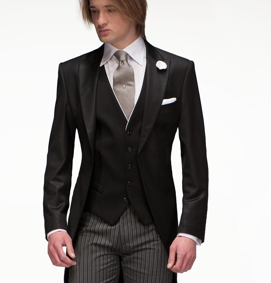 High Quality Slim Fit 2015 Groom Tailcoat Black Groomsmen Best Mens Wedding Prom Suits Cheap Custom Made (Jacket+Tie+Vest)