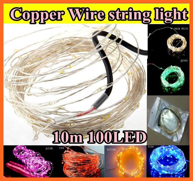 10m 100 LED LED Copper Wire String Light Lighting Fairy Party Wedding Christmas Flashing LED Strips Paski Wielo- kolor na choinkę