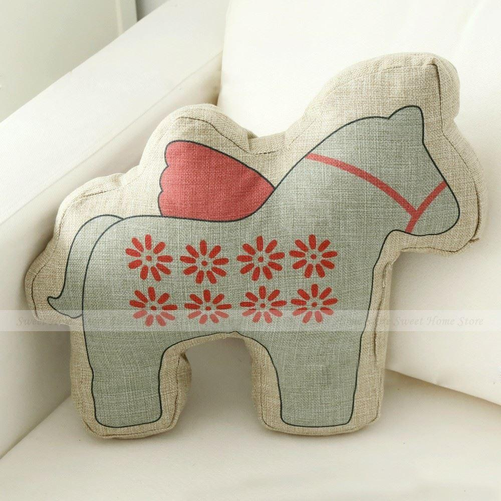 Horse shaped pillows for children - Lovely Cartoon Daisy Pattern Animal Horse Shaped Throw Pillow Children S Christmas Gifts Cushion Toy