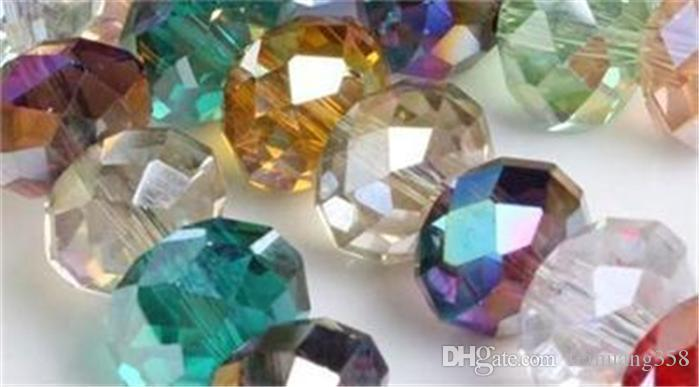 100pc Karışık renkli Kristal Kuvars Rondelle Gevşek Boncuk 5040 6mm