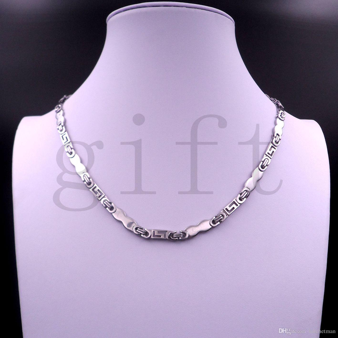 DHL корабль бесплатно Фангл прохладный серебро из нержавеющей стали мужская Византийская цепь ручной работы ожерелье Оптовая