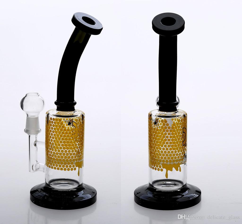 NOVA Moda Bongos de Vidro Tubos De Água Com bacia fêmea conjunta 14mm 10 polegadas PERCOLATO DE FAIXA de petróleo equipada plataformas de petróleo bongo de vidro dois narguilés fuction