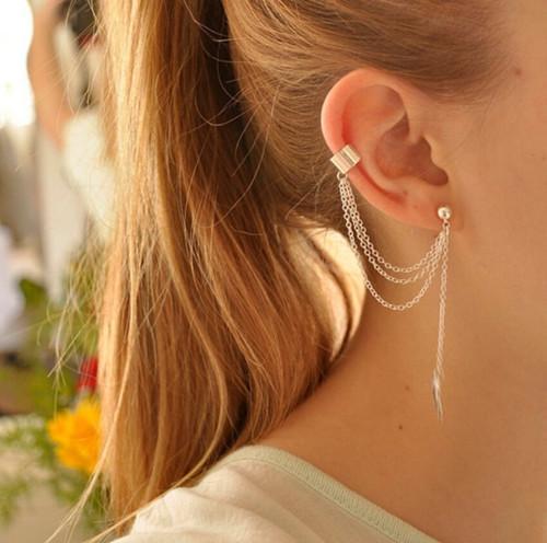 Orecchini gioielli moda oro / argento placcato foglia foglia nappa orecchini gioielli personalità elegante orecchio polsino (1 pezzo) trasporto di goccia ER575