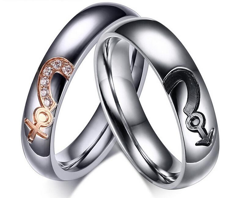 silver girls and boys symbol couple rings stainless steel lovers ...