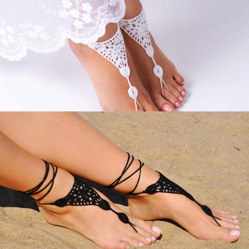 Gehäkelte Barfuß Sandalen schwarz Schmuck, Brautjungfer Geschenk, Barefoot Sandles, Strand, Fußkette, Hochzeitsschuhe, Strand Sommer Schuhe
