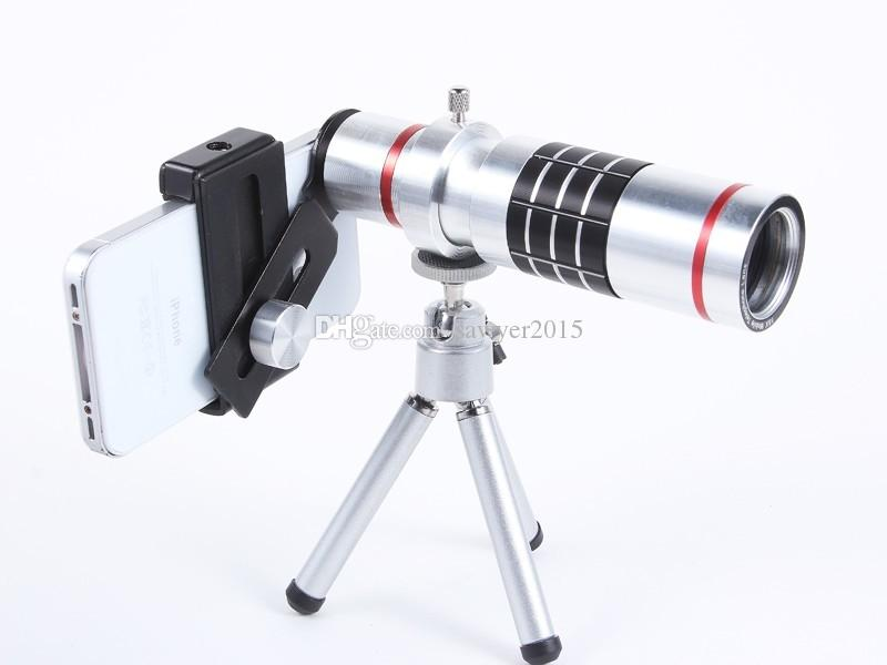 Metal 18X Universal Zoom optical Telescope Camera telephoto Lens with tripod mobile phone lens with retail box Free Shipping