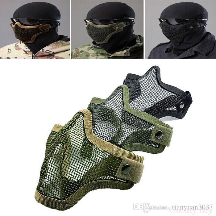 Yarım Alt Yüz Metal Çelik Net Mesh Avcılık Taktik Koruyucu Airsoft Maskesi Hareket maskesi ücretsiz kargo TY941