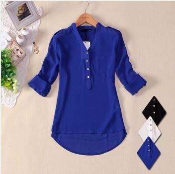 2015 بالاضافة الى حجم المرأة في الأبيض أزرق أسود بلوزة من الشيفون Camisas Blusas Femininas الصيف السيدات كم طويل قميص القمم شير