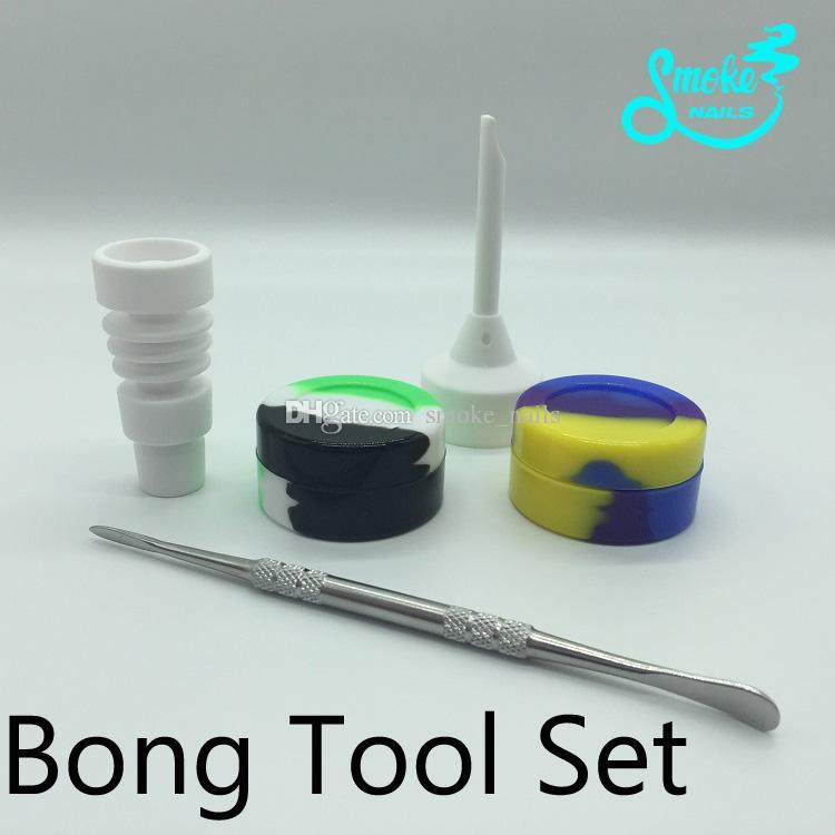 Bongs Tool Set met 14mm 19mm mannelijke keramische nagel carb cap dabber Slicone jar dab container 5 stks een geheel