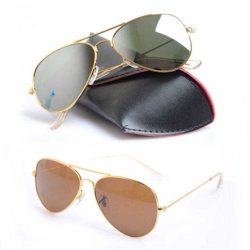10PCS Mens Mirror sun glasses Classic Unisex Sunglasses pilot Womans glasses Glass sunglasses Brand New glasses Brand Designer sunglasses 58