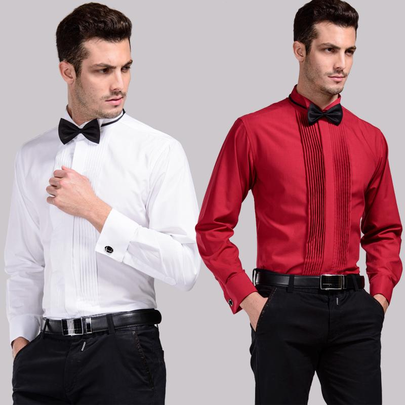Performance would be long sleeve shirt swallow led wash and wear the groom pure white wedding dress black powder wine red dress shirts