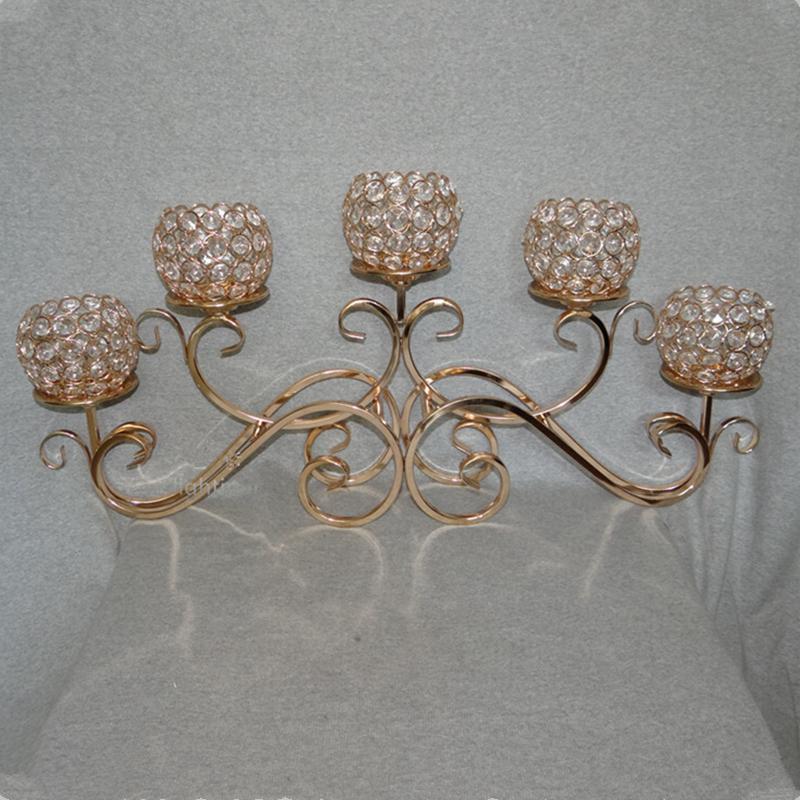 الأعلى تقييما 5 رئيس الذهبي معدن كريستال شمعة حامل 5 كرات الشمعدانات الزفاف المركزية 5 الأسلحة الثريا