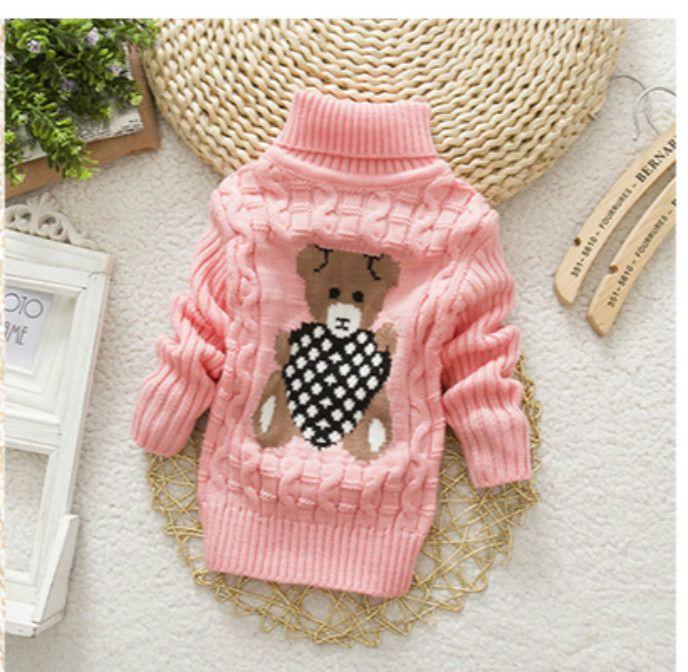 터틀넥 따뜻한 겉옷 소년 스웨터 만화 아기 소녀 스웨터 점퍼 가을 겨울 어린이 니트 풀 오버 아동복