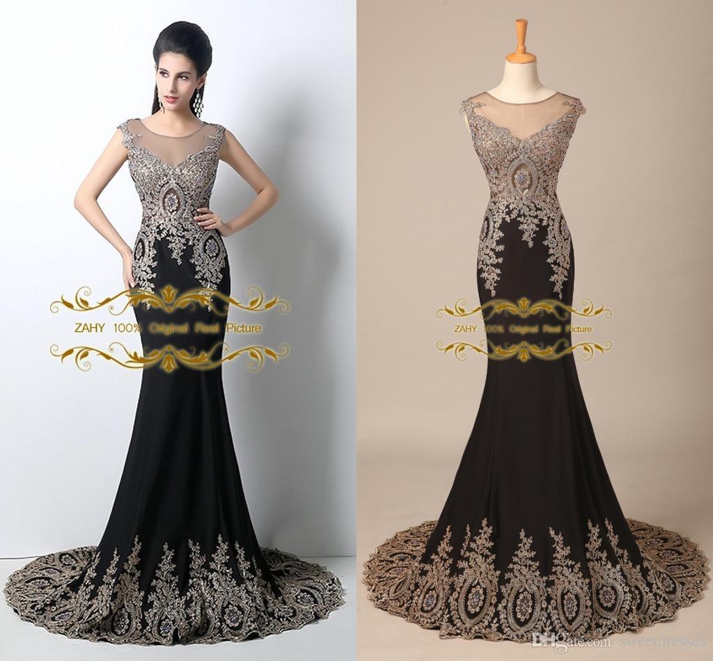 In Stock 2015 Evening Gowns Sheer Scoop Mermaid Appliqued Beads ...