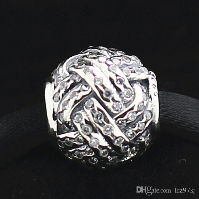 2015 925 Gümüş Aşk Düğüm Charm Boncuk ile Temizle Cz Avrupa Pandora Takı Bilezikler Kolye Kolye Uyar