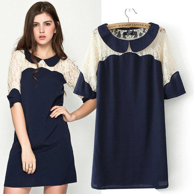 SZ753 المرأة الجديدة 2015 الصيف الدانتيل خليط بيتر بان طوق البحرية الأزرق فستان بأكمام قصيرة vestidos femininas