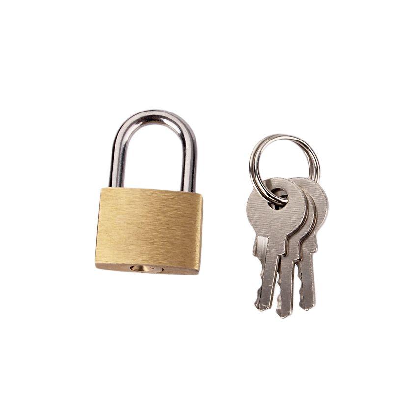 أقفال قفل نحاسية صغيرة الحجم - قفل نحاس صلب (مجموعة من مفتاحين) للسفر الداخلي والخارجي