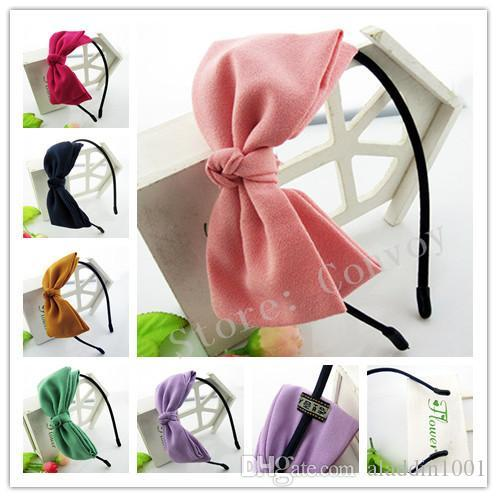 NEW hair band children fashion Bow hair accessories Girls big beautiful lint bow Hair Sticks baby headwear Head Piece KFG08