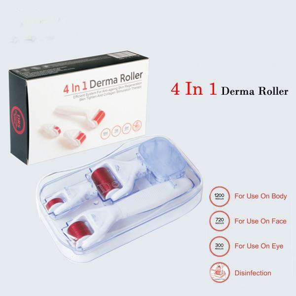 Microneedle dermaroller 1200/720/300 Meso Rolo De Pele Anti Envelhecimento Cabelo Recrescimento Cicatriz 4 em 1 Dermaroller