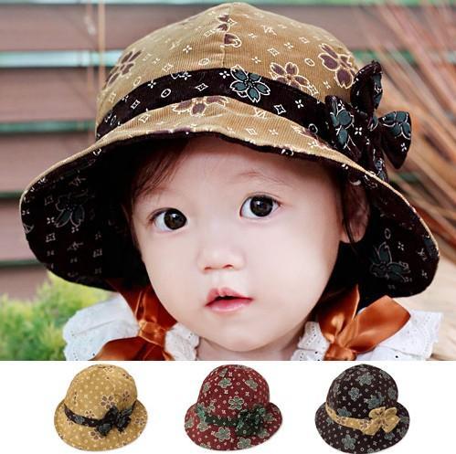 ربيع الخريف أطفال القبعات نمط جديد الطفلات قبعات عادلة البكر مزاج جميع القطن كودري الطباعة bowknot الأطفال قبعة 9 قطعة / الوحدة GH150