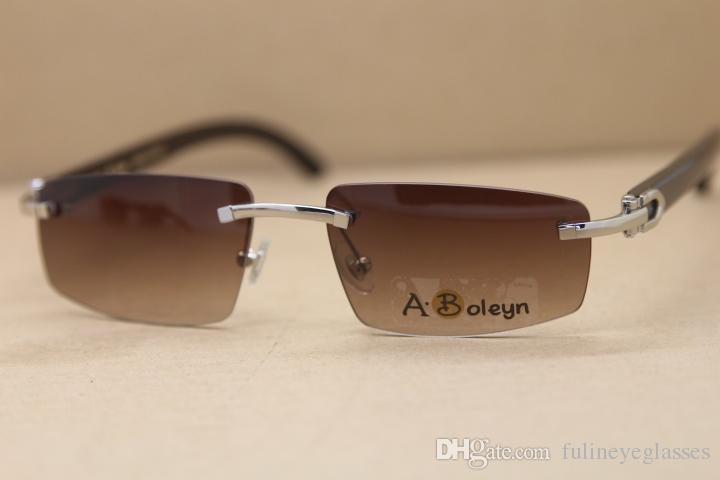 Gafas de sol sin montura natural Gafas Negro T8100926 Conducción Búfalo Gafas de sol genuinas Moda Nueva mujer 2020 Tamaño: 55-18-140mm CDHOJ