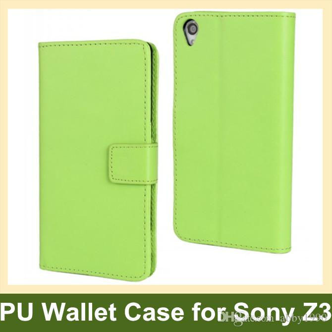 Wholesale New Arrive PU Leather Wallet Flip Cover Case for Sony Xperia Z3 L55t with Folding Function Free Shipping
