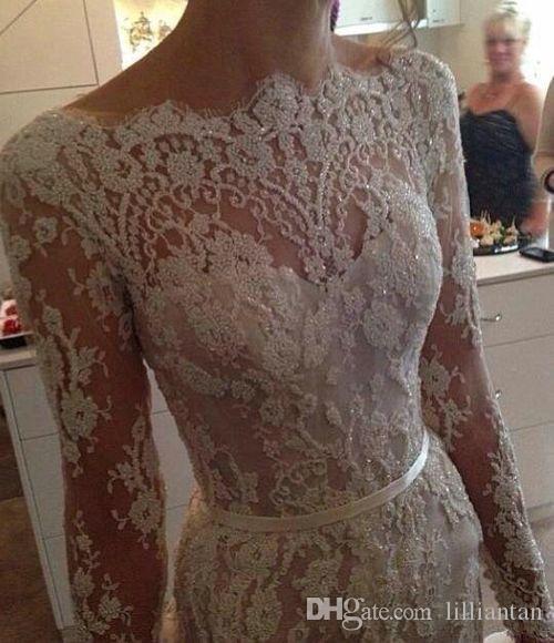 Robes de dentelle blanche sirène à manches longues élégant avec sous-vêtements longues robes de soirée robes de bal illusion corsage robes de bal retour