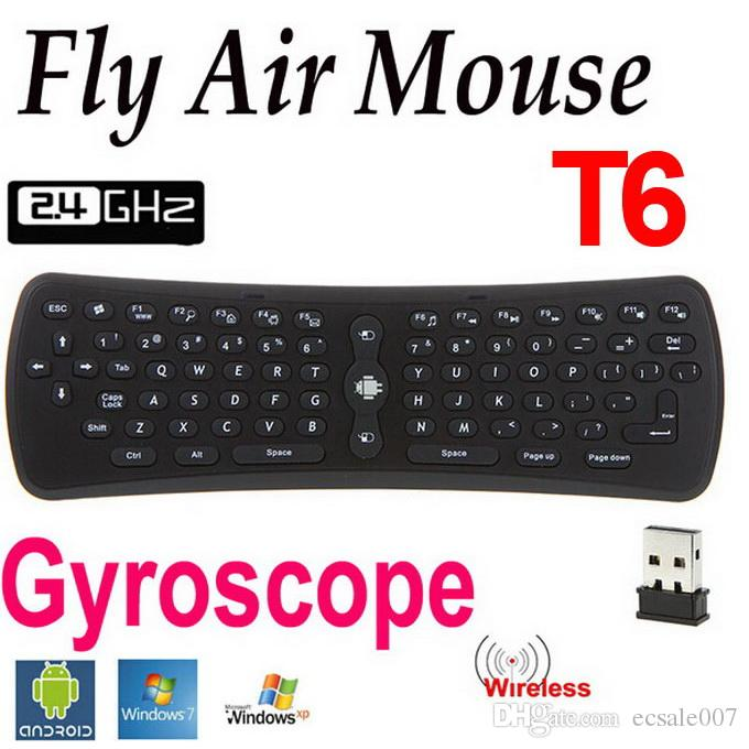 T6 Wireless Keyboard 2.4GHz G-sensor giroscópio Fly Air Mouse Mini Gaming Keyboard Para Android TV Box PC Laptop Tablet PC Mini DHL frete grátis