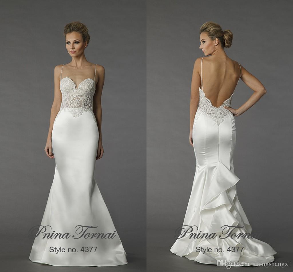 2015 Pnina Tornai Mermaid Wedding Dresses Spaghetti Sleeveless Lace ...