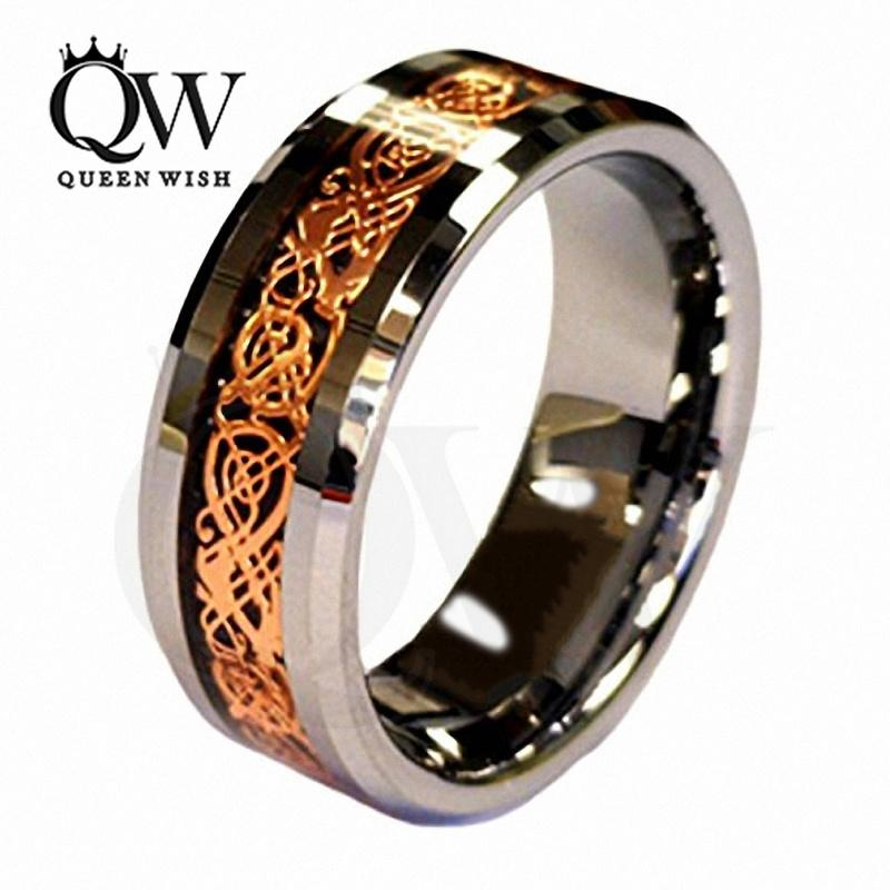 Mens Wedding Rings.2019 Mens Engagement Rings Infinity Wedding Rings Jewelry 18k Rose Gold Plated Celtic Dragon 8mm Tungsten Carbide Wedding Band Ring Men S Jewelry From
