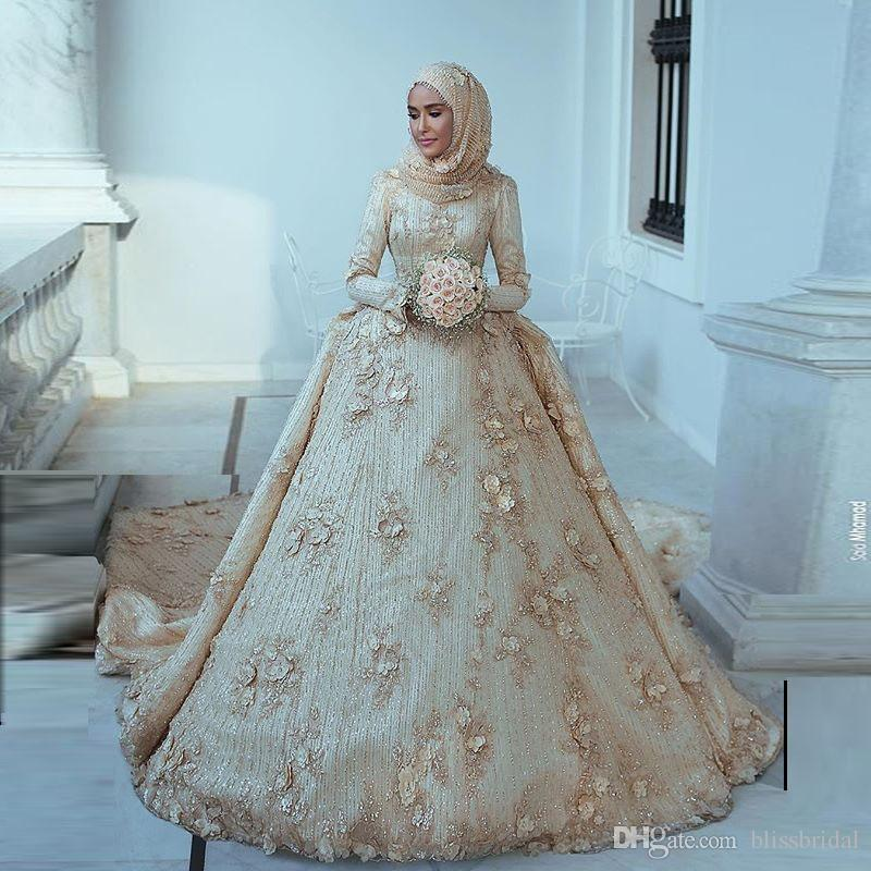 2019 Arabic Islamic Muslim A Line Wedding Dresses Said Mhamad Lace Winter  Bridal Gowns Long Sleeves High Neck Middle East Pakistani Abaya Bridal Ball