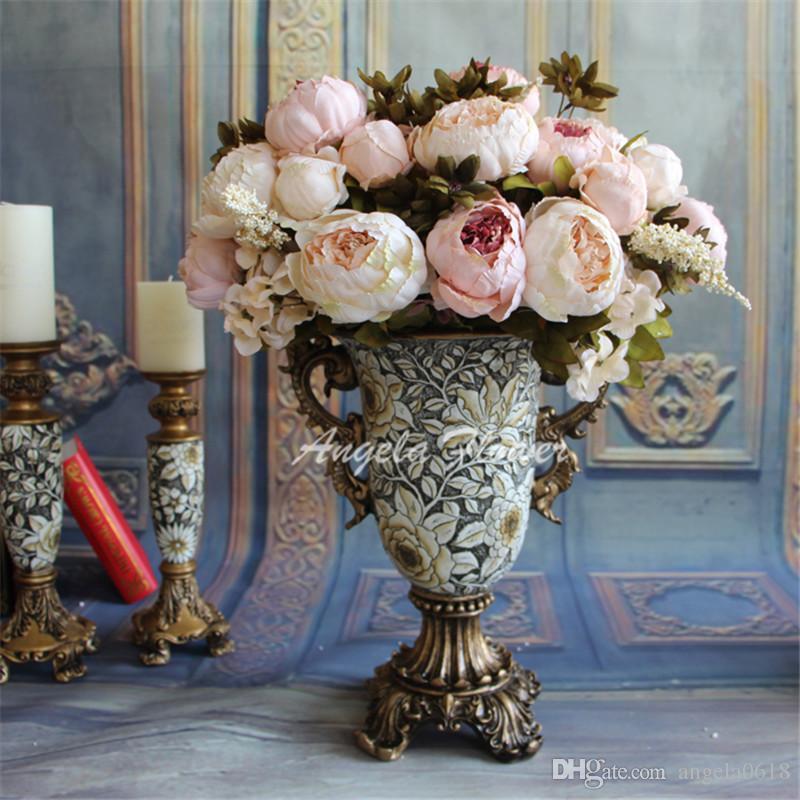 بيع الأوروبي الديكور 12 رؤساء بانش الحرير الاصطناعي الفاوانيا باقة كوبية الزهور ل حفل زفاف الجدول المنزل