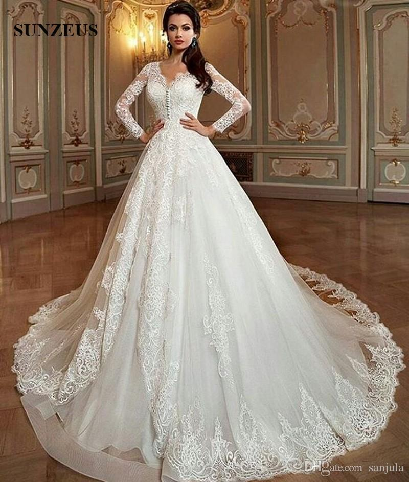 Compre Elegante Princesa Vestidos De Novia De Manga Larga Una Línea V Cuello Apliques Vestidos De Novia Largos Piso Longitud Tul Vestidos Para Novias
