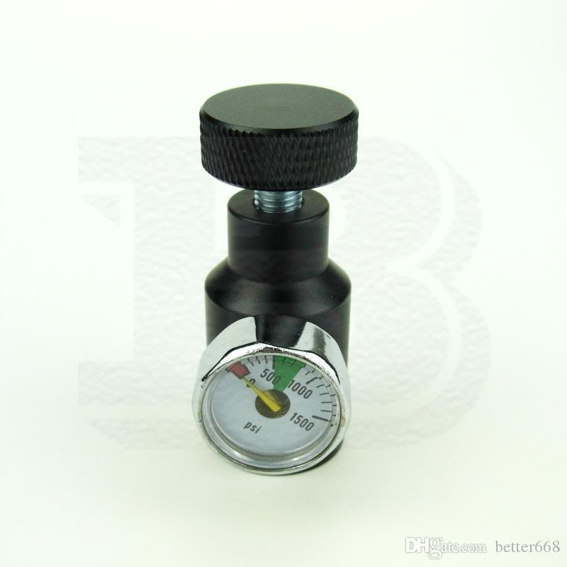 新しいペイントボールエアソフトエアガンPCPリモートオン/オフASA CO2充填アダプター1500PSIゲージ1 / 8NPT-BLACK