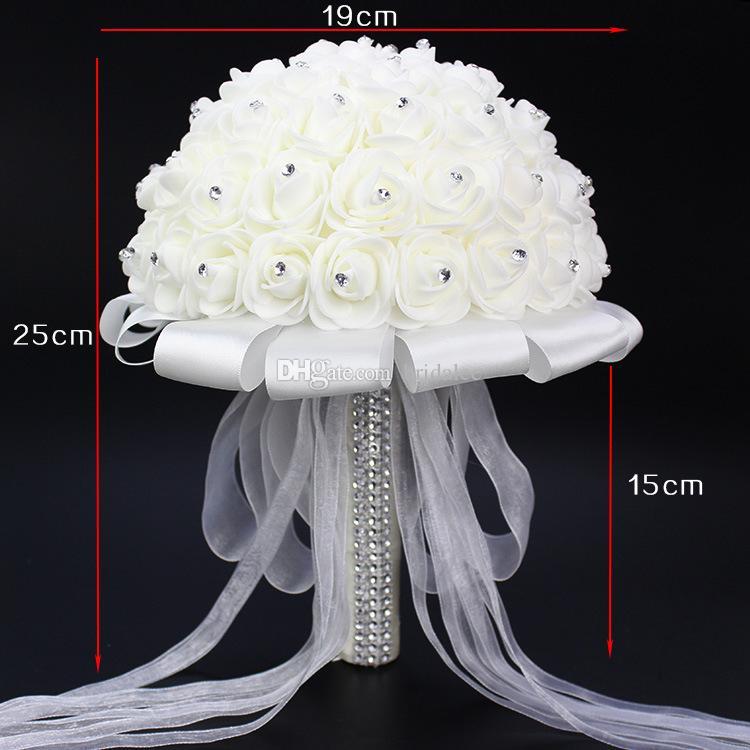 Bouquets De Casamento Branco de Cristal de luxo 2016 New Arrivals Marfim Rosa Arco buque de noiva de flores de Casamento perola Bouquets de Noiva