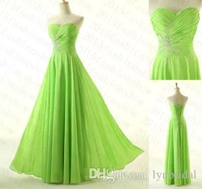 Cheap Lime Green Prom Dress Sweetheart A Line Long Chiffon Women Maxi Dress  Available Plus Size Dress Shop Formal Dresses Online From Lynbridal, ...