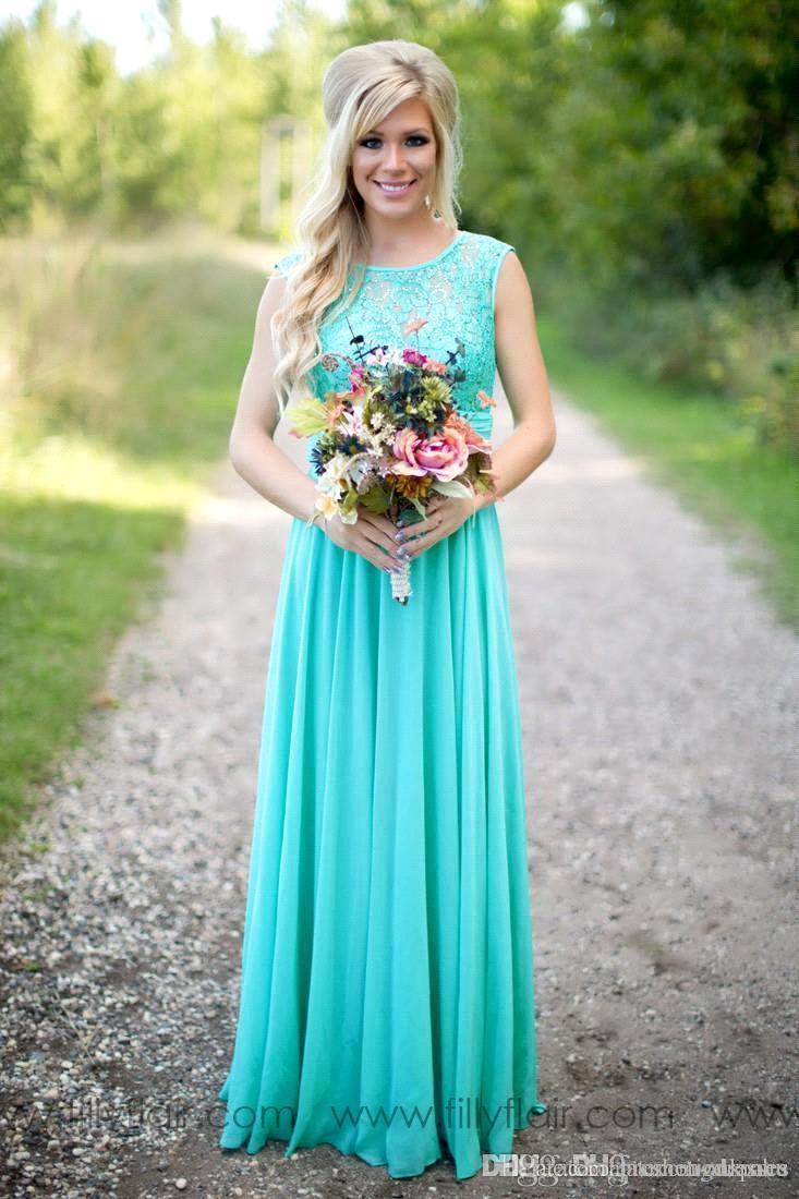 Yeni Mavi Gelinlik Modelleri Scoop Şifon Kat Uzunluk Dantel V Backless Uzun Bridesamids Düğün BA1513 Için Elbiseler
