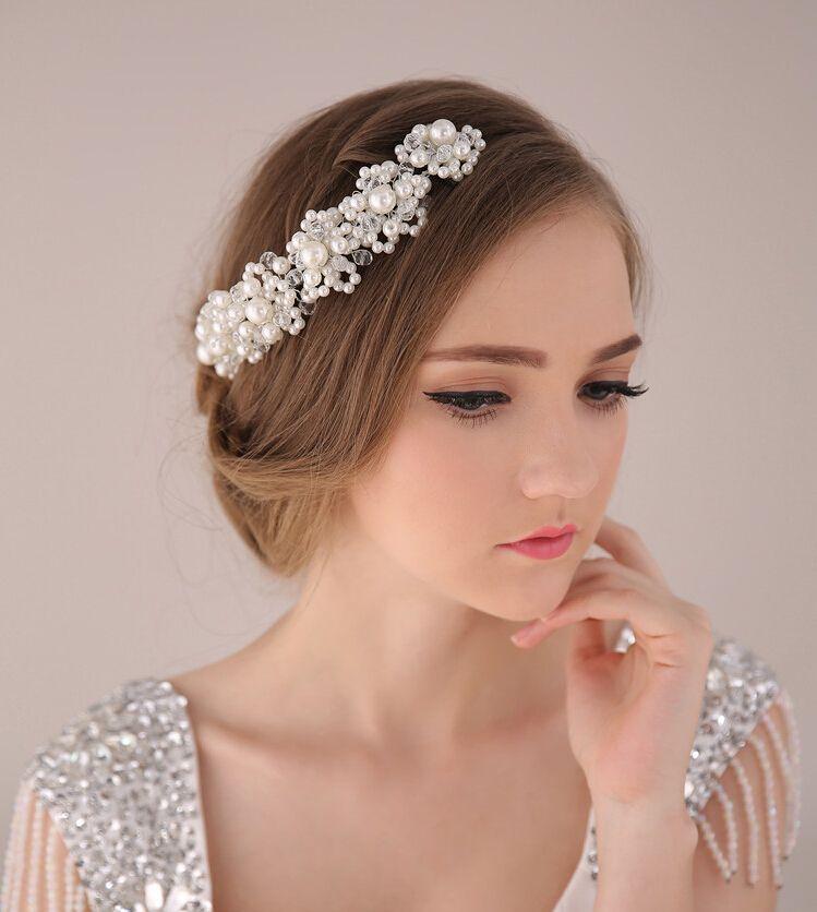 2015 Nueva boda nupcial Crystal Rhinestone perlas accesorios para el cabello flores piezas pernos diadema con cuentas Princess Tiara Jewelry
