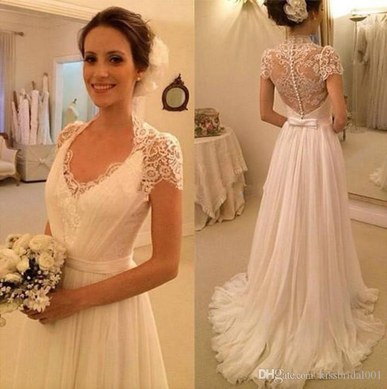 Summer Beach Lace Wedding Dresses A Line Elegant Long Cheap White Ivory Bridal Gowns With V Neck Cap Sleeves Covered Button Dresse