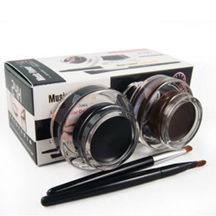 2 szt. W 1 LOT Brązowy i czarny żel Eyeliner Makijaż Wodoodporne Kosmetyki Narzędzia Liner Eye Liner Makeup Eye