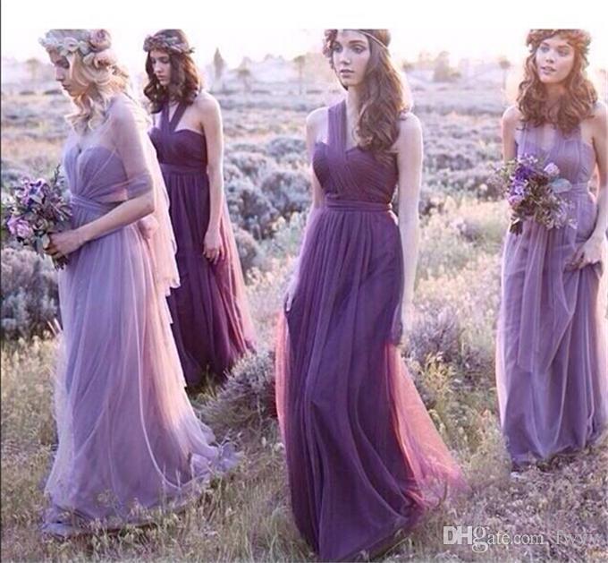 Robes de demoiselle d'honneur longues robes de bal robe de mariée Womens Fashion en mousseline de soie et Halter Womens Elegant