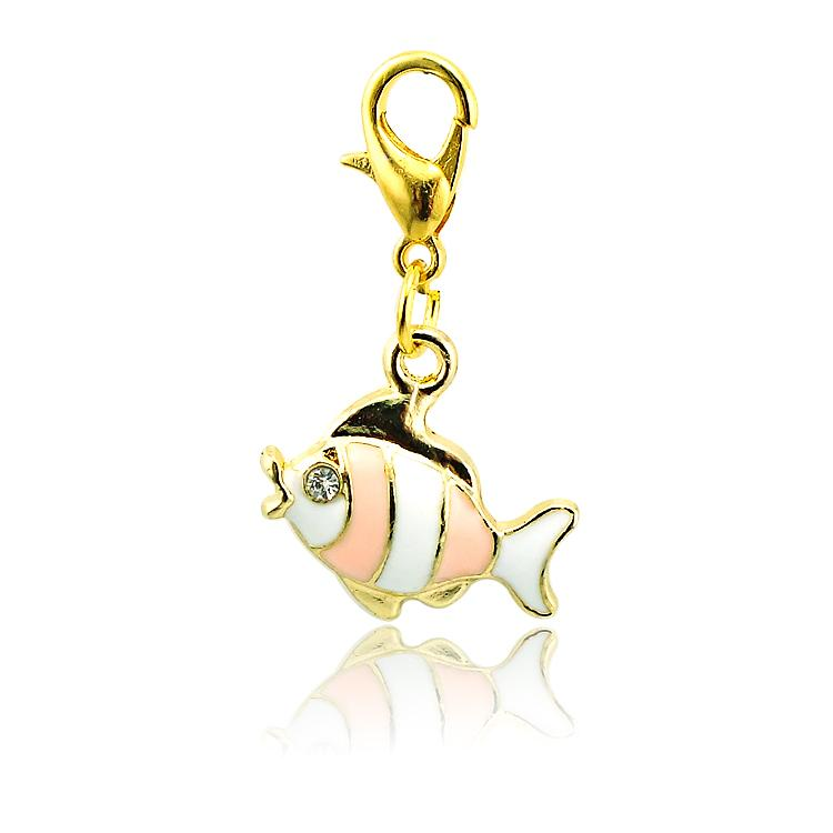 Brand New Fashion Floating Charms Alloy Lobster Clasp 4 Color Rhinestone Fish Charms DIY Accessories Jewelry